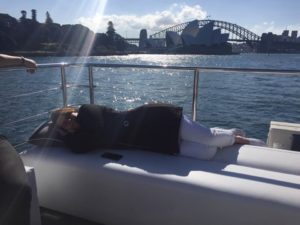 Harbour Spirit Sydney Guest chilling out in the sun