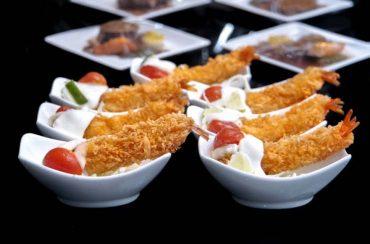 Tempura in canape selection - Japanese Deep fried prawn